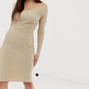 Off shoulder cross front ribbed midi dress